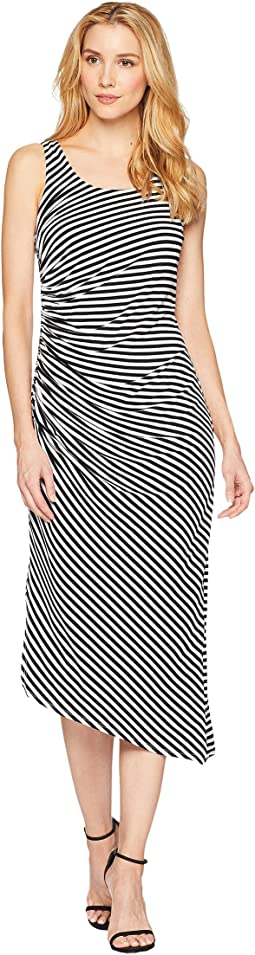 Vince Camuto Sleeveless Side Ruched Amalfi Stripe Dress