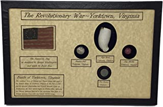 Revolutionary War Bullet, Button, Clay Pipe & Marble in Glass Top Display Case with COA