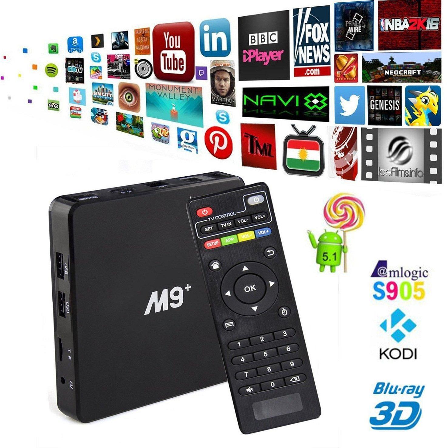 trongle M9 Plus M9 + Android TV Box Amlogic s905 Kodi totalmente integrado beladene Android 5.1 Lollipop OS TV CAJA DE 4 Núcleo 1 G/8G 4 K Google Streaming Media Players con