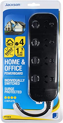 Jackson 4 Way Individually Switched Surge Protected Powerboard