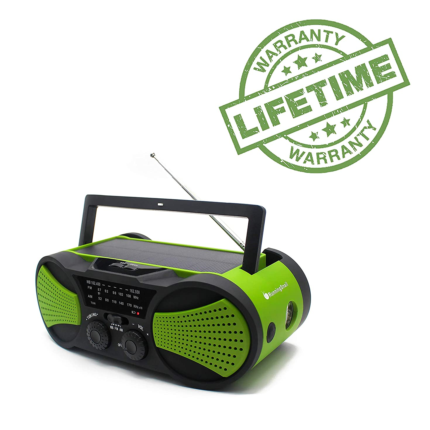 Emergency Crank NOAA Weather Radio, Audio Speaker, RunningSnail AM/FM 4-Way Powered Radio with 4000mAh Battery, LED Flashlight, Reading Lamp, SOS Alarm and Cellphone Charger (Green)