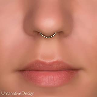 Dainty Fake Twisted Wire Septum Nose Ring, Unique Faux Brass And Sterling Silver Clip On Non Pierced Septum Hoop, Handmade Piercing Jewelry