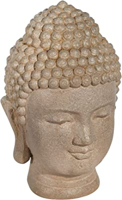 "Sagebrook Home Resin 11.5"""" Buddha Head, Stone, Gray (13029-12)"