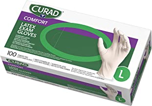 Curad Disposable Medical Latex Gloves, Powder Free Latex Gloves are Textured, Large, 100 Count