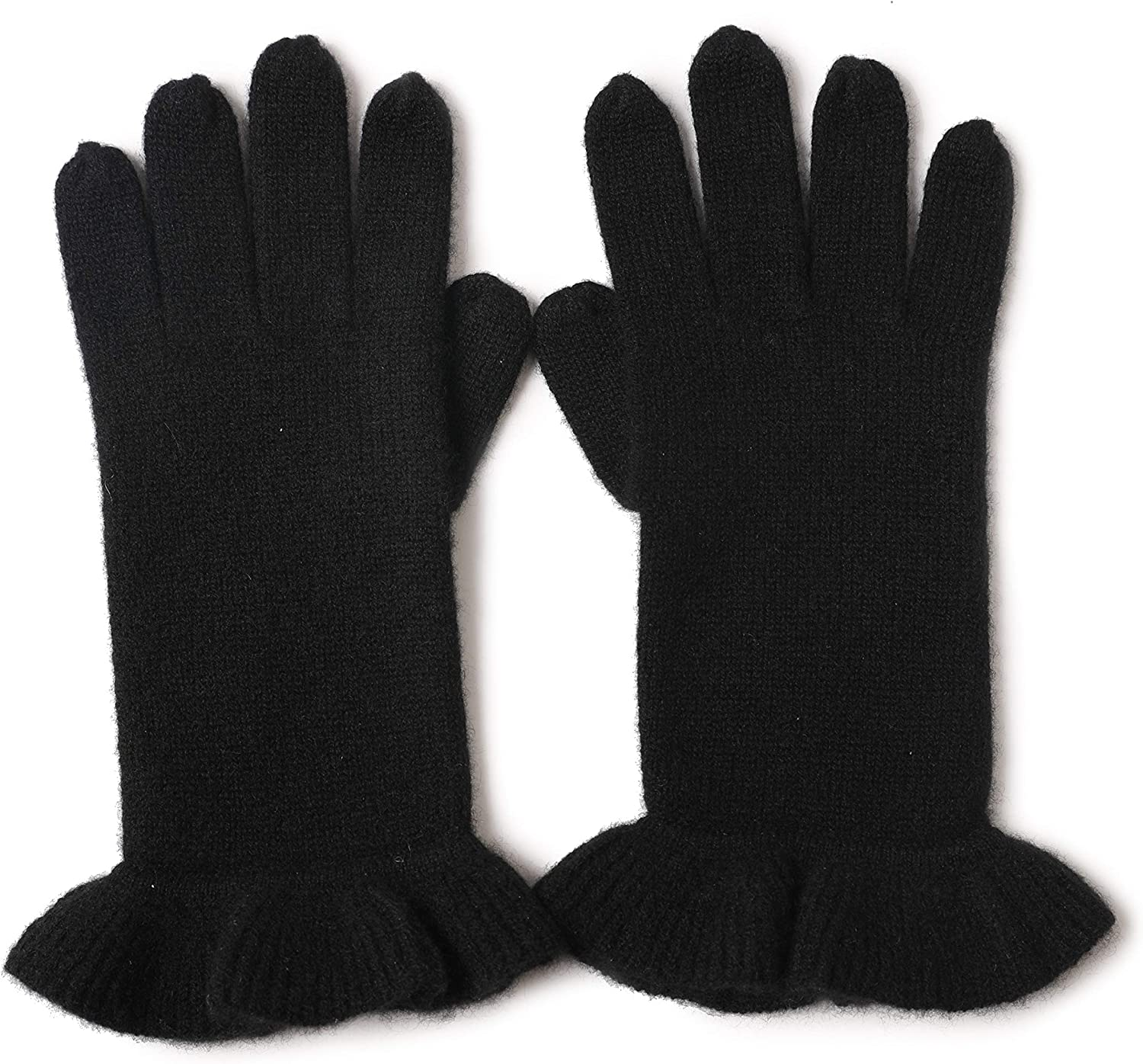 Winter Fashion Womens Pure Color Ruffled Five-finger Gloves Warm 100% Cashmere Knitted Gloves