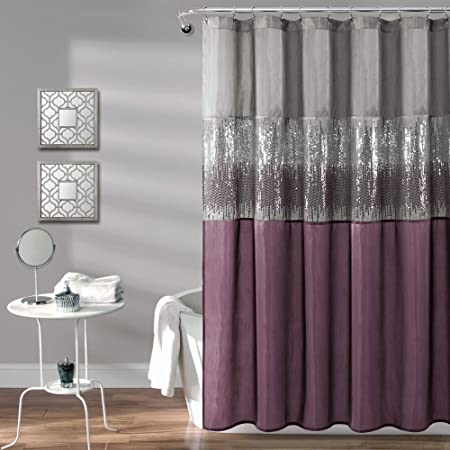 Lush Decor White 1 Night Sky Shower Curtain Sequin Fabric Shimmery Color Block Design For Bathroom X 72 Gray And Purple Home Kitchen