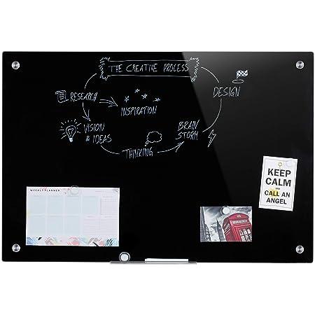 Relaxdays Tableau magnétique en Verre, inscriptible, Rangement, Anti-Rayures, Panneau d'Affichage 60x90 cm, Noir, 1 élément 10032251_46