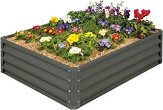 Stratco Metal Raised Garden Bed Kit - Elevated Planter Box For Growing Herbs, Vegetables, Flowers, and Succulents (Slate Grey) (Renewed)