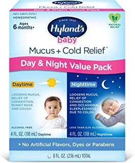 Infant and Baby Cold Medicine, Hyland's Baby Mucus + Cold Relief, Day & Night Value Pack, Decongestant and Cough Relief, 8...