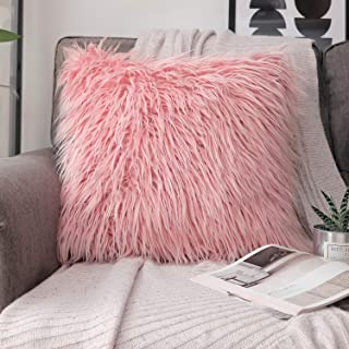 Phantoscope Luxury Series Throw Pillow Covers Faux Fur Mongolian Style Plush Cushion Case for Couch Bed and Chair, Pink 18 x 18 inches 45 x 45 cm