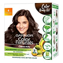 Garnier Color Naturals Crème Hair Color, Shade 4 Brown, 70ml + 60g + Coloring Tools, 130 ml