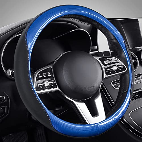 lowest Coverado Steering Wheel Cover, Fashion PVC&Faux Leather Anti-Slip Design Car Steering Wheel Protector, 14.5''-15.5'' Universal fit for Most Car sale Truck lowest SUV, Blue outlet sale