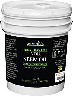 Greenive - Neem Oil - 100% Organically Grown Neem Oil - Cold Pressed Virgin Neem Oil - Exclusively on Amazon (640 Ounce (5 Gallon))