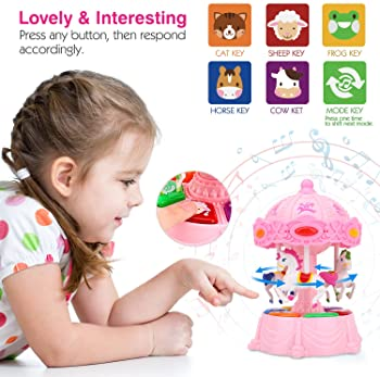 Zooawa Carousel Music Box, Merry Go Round Electronic Musical Rotating Toy with 3 Modes & Animal Sound - Pink