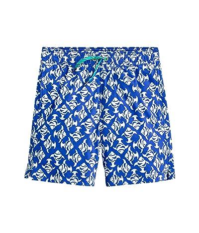 crewcuts by J.Crew Fish Mosaic Elastic Swim Trunks (Toddler/Little Kids/Big Kids) (Blue/Ivory) Boy