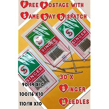 3 lotes de 10 agujas para máquina de coser doméstica, marca Singer ...