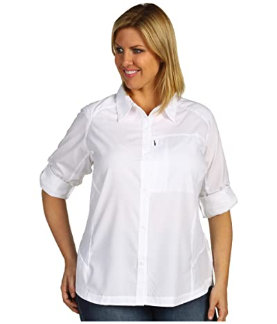 Columbia Plus Size Silver Ridgetm L/S Shirt (White) Women