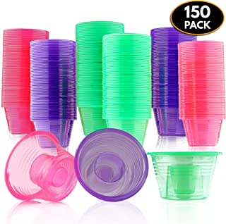 150 Disposable Jager Bomb Shot Glasses - Hard Plastic Bomb Shot Cups in 3 Neon Colours - Heavy Duty, Highly Durable and Reusable Shot Glasses - Perfect for Shots, Red Bull & Jagermeister.
