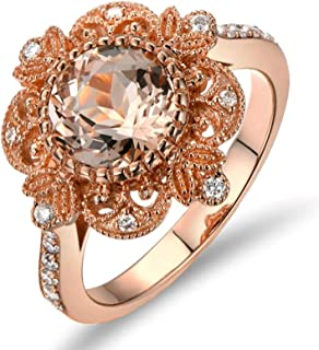 18k Gold Ring for Women Leaf Square Ring Diamond Ring Promise with Brown Diamond Pink Beryl