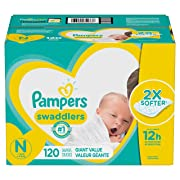 Diapers Newborn / Size 0 (< 10 lb), 120 Count - Pampers Swaddlers Disposable Baby Diapers, Giant Pack
