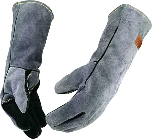 WZQH 16 Inches 932 Leather Forge Welding Gloves With Kevlar Stitching Heat Fire Resistant Mitts For BBQ Oven Grill Fireplace Tig Mig Baking Furnace Stove Pot Holder Animal Handling Glove Black Gray