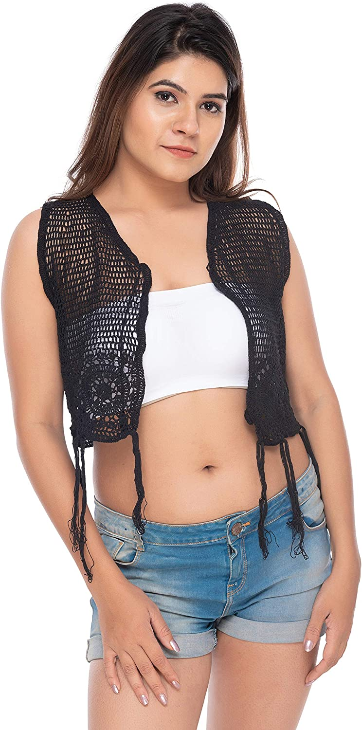 Exclusive Hand-Crafted Latest Style Floral Lace Short Shrugs or Wraps with Tassels Sleeveless Stretchable