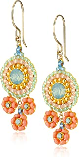 Miguel Ases Small Miyuki and Swarovski Triple Circle Drop Earrings