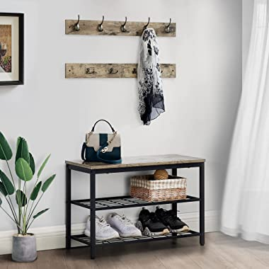 GOOD & GRACIOUS Shoe Bench with Coat Rack for Entryway,Entryway Shoe Rack with Coat Hooks,3 Tier Shoe Rack Bench with Coa