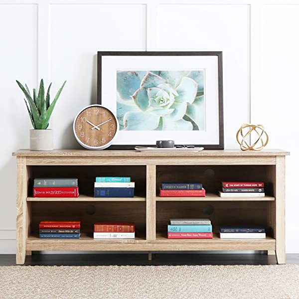 New 58 Modern Tv Console Stand Natural Finish