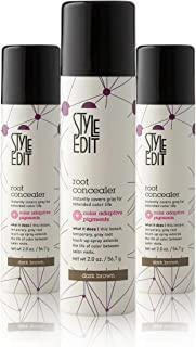 Best Style Edit Root Concealer Touch Up Spray | Instantly Covers Grey Roots | Professional Salon Quality Cover Up Hair Products for Women |Dark Brown 2 Ounce (Pack of 3) Review