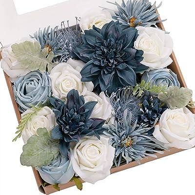 Ling's moment Artificial Flowers Dahlia Flowers Combo for DIY Wedding Bouquets Centerpieces Arrangements Party Baby Shower Home Decorations