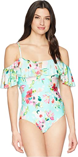 Hidden Garden Cold Shoulder Maillot One-Piece