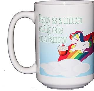 Happy as a Unicorn Eating Cake on a Rainbow Coffee Mug