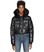 The Kooples - Fake Leather and Fake Fur Down Jacket