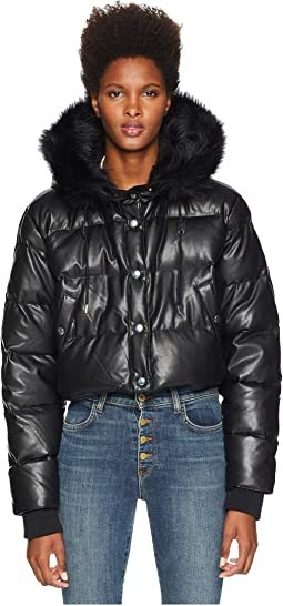 Fake Leather and Fake Fur Down Jacket