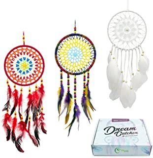 MiRundel Dream Catcher Handmade Set of 3 - White, Red, Purple Feather Round Dreamcatchers for Home Wedding Car Wall Hanging Decorations - Boho Festival Craft Ornament - Anniversary Birthday Gift