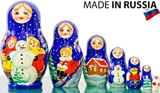 Russian Nesting Doll Dolls - Hand Painted in Russia - 5 Color/Size Variations - Traditional Matryoshka Babushka (4.75``(7 Dolls in 1), Floral B)