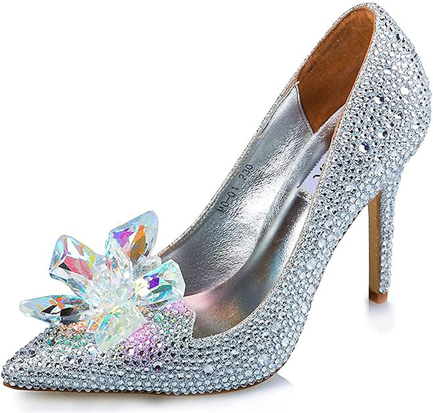 Lisa Gonza Cinderella Princess Crystal shoes Glass Flower Wedding shoes Evening Dress Heels