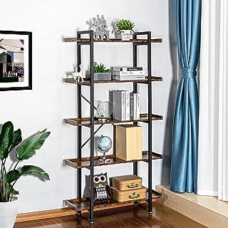Mavalous Industrial Bookshelf, 5 Tier Bookshelf, Metal...