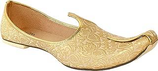 Krafto Men's GoldBeige Synthetic Sherwani Jutti