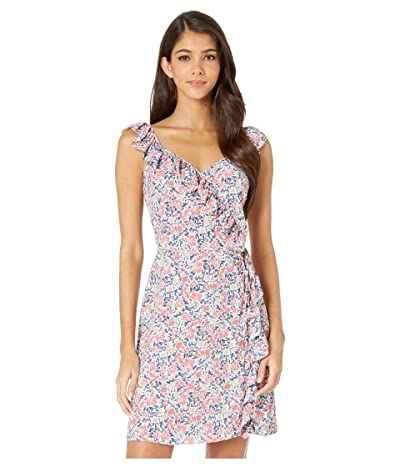 1.STATE Ruffle Edge Sunwashed Floral Wrap Dress (Coral Multi) Women