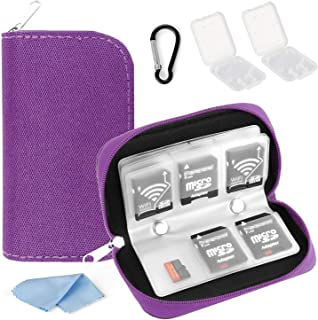 Memory Card Case, WOVTE Portable 8 Pages and 22 Slots SD SDHC MMC CF Micro SD Memory Camera Card Case Holder Pouch Zippere...