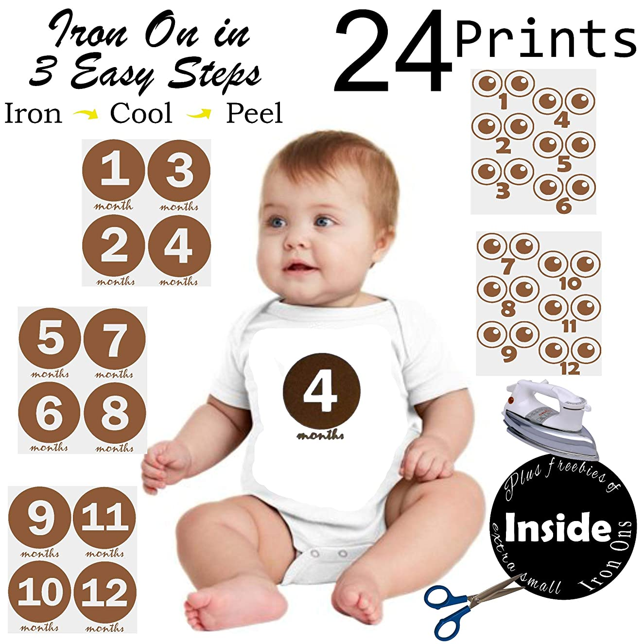 Iron on Heat Transfer for Baby Monthly Stickers Number Set | Baby Monthly Milestone Stickers | Baby Months Stickers | 24 Numbers In All
