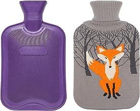 بطری آب داغ Premium کلاسیک W / کت و شلوار کت و شلوار ناز (2 لیتر، بنفش / خاکستری با روباه)