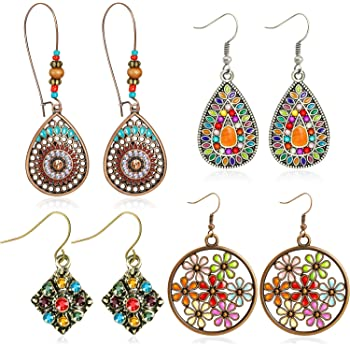 Colorful Bohemian Feather Dangle Drop Earring Gifts for Women Girls Jewelry000001001856