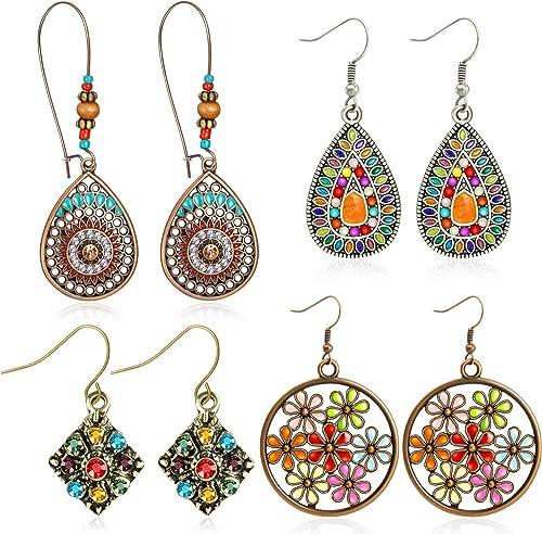4 Pairs Bohemian Vintage Dangle Earrings Retro Rhinestone Earrings Boho Dangle Drop Earrings for Women Girls (Style A)