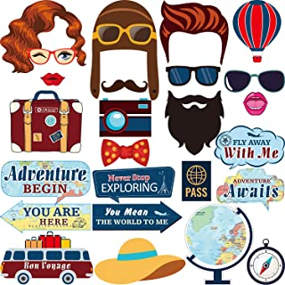 Travel Themed Photo Booth Props Kit Adventure Begin Party Supplies Camera Props Kit for Travel Retirement Party 25 Pieces