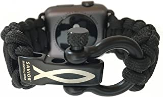 Savior Survival Gear Paracord Watch Band Compatible with Apple 42mm and 44mm Apple Watch - Paracord Watch Band with Stainless Steel Adjustable Shackle (550 Paracord, Black, Large)