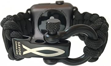 Savior Survival Gear Apple Watch Band 42mm Replacement Survival Paracord Watch Band with Stainless Steel Adjustable Shackle (550 Paracord, Black, Large)
