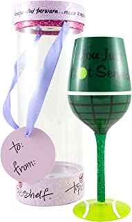 """Top Shelf """"You Got Served"""" Tennis Lover Wine Glass – Novelty Gifts for Women"""